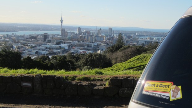 Skytower from Mt Eden with car
