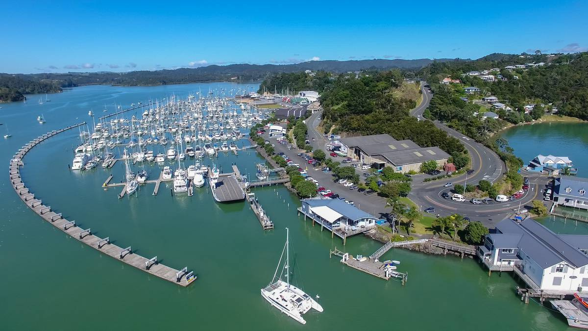 Opua Marina filled with boats in the Bay of Islands near RaD Car Hire's depot